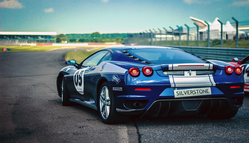 Fast car on race track